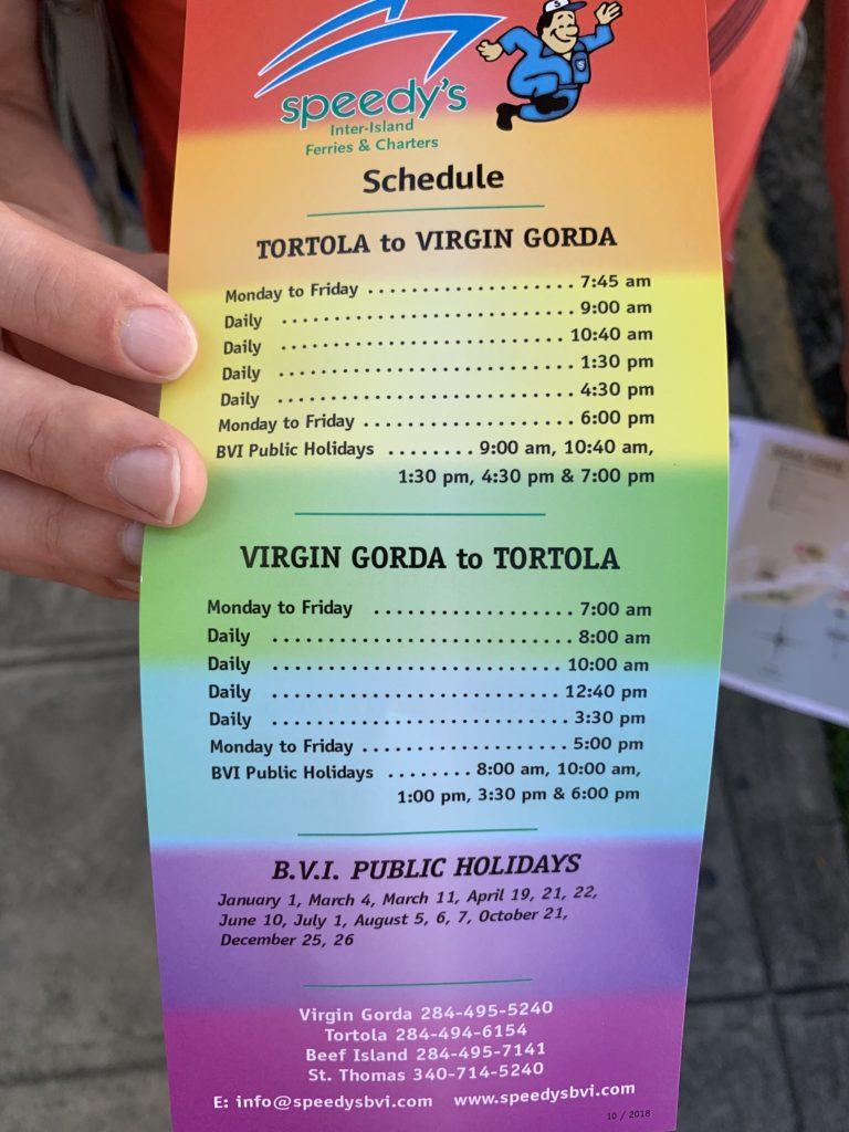 Fahrplan mit Uhrzeiten zu The Barth auf Tortola